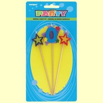 ***Number 0 Star Birthday Candle Set