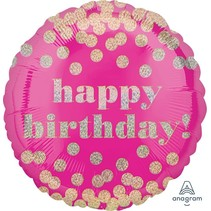 "***Happy Birthday Pink Dotty 18"" Mylar Balloon"