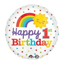 "***Rainbow Happy 1st Birthday 18"" Mylar"