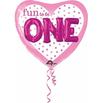"***Fun to Be One Girl 36"" Heart Shape 3D Mylar Balloon"