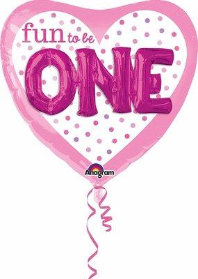 """***Fun to Be One Girl 36"""" Heart Shape 3D Mylar Balloon"""