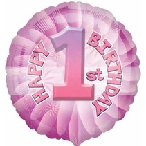 "***Pink 1st Birthday 18"" Mylar Balloon"