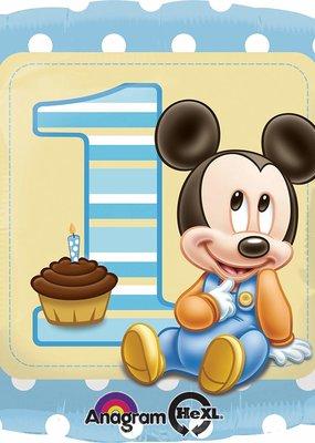 ***Mickey's 1st Birthday Square Mylar Balloon