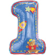 "***First Birthday Boy 28"" Number 1 Mylar Balloon"