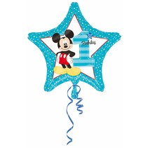 ***Mickey Mouse 1st Birthday Star Mylar Balloon