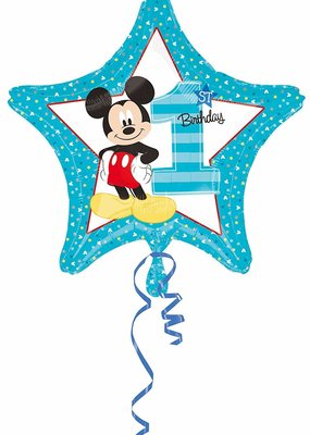 ***Mickey Mouse 1st Birthday Star Mylar Balloon