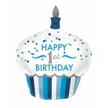 "***Blue 1st Birthday Cupcake 36"" Mylar Balloon"