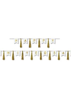 ***Happy Anniversary Gold Tassel Banner