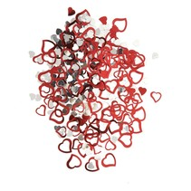 ***Red & Silver Heart Confetti