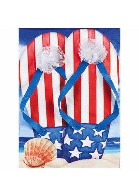****Patriotic Flip Flops Garden Linen Flag
