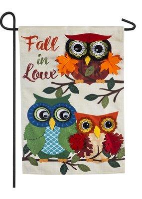 ***Autumn Owls Garden Linen Flag