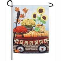 ***Autumn Red Wagon Garden Suede Flag