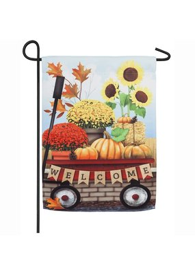 ***Autumn Red Wagon Garden Suede Flag