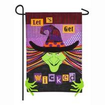 ***Let's Get Wicked Garden Linen Flag