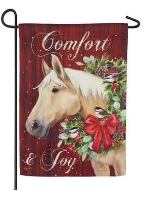 ***Christmas Horse Garden Suede Flag