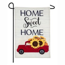***Harvest Red Truck Garden Linen Flag