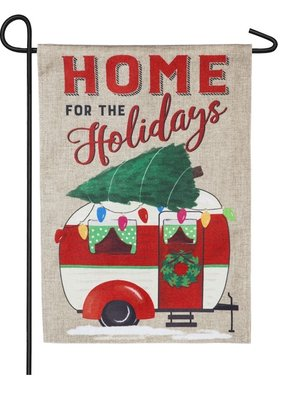 ***Home for the Holidays Camper Garden Burlap Flag