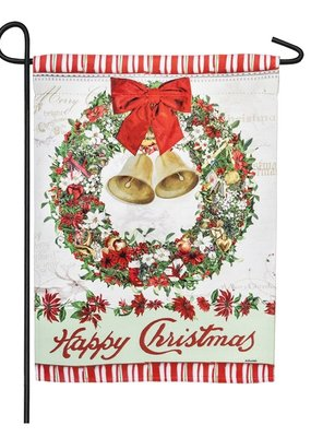 ***Happy Christmas Bells Wreath Garden Suede Flag