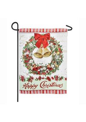 ***Happy Christmas Bells Wreath Garden Suede Flag