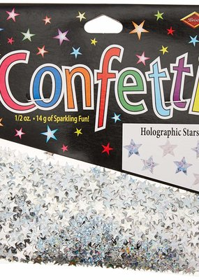 ***Silver Holographic Stars Confetti .5oz Bag