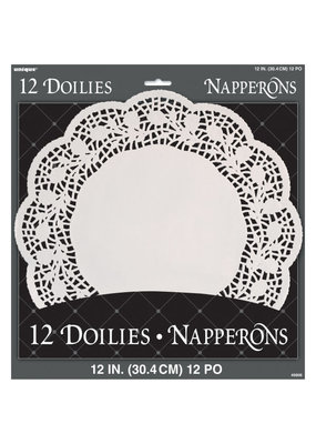 "*** Doilies 12"" White 12ct"