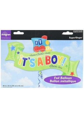 """***Baby Boy Choo Choo 40"""" Jumbo Mylar Balloon"""