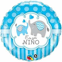 "***Es un Nino It's Boy Elephant 18"" Mylar Balloon"