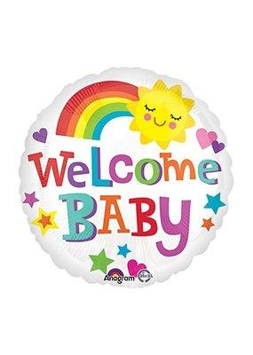 "***Welcome Baby Bright Rainbow 18"" Mylar Balloon"