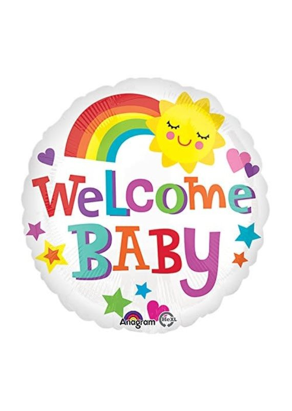 "***Welcome Baby Bright Rainbow 18"" Mylar Balloon"