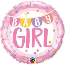 """***Baby Girl Banner & Dots 18"""" Mylar Balloon"""