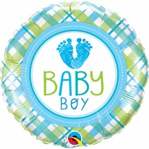 "***Baby Boy Feet Love 18"" Mylar Balloon"