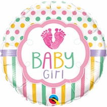 "***Baby Girl Feet Love 18"" Mylar Balloon"