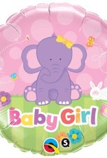 "***Baby Girl Elephant 18"" Mylar Balloon"