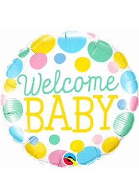 """***Welcome Baby Pastel Dots 18"""" Mylar Balloon"""