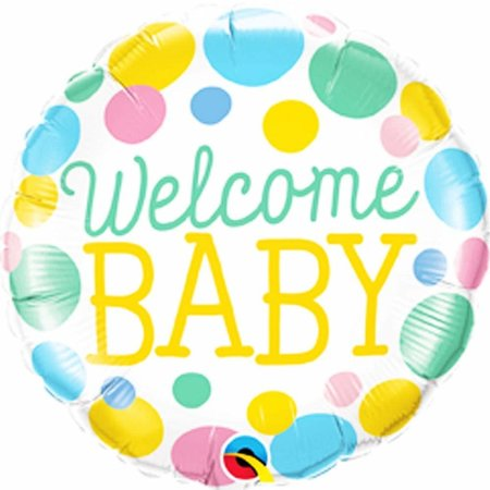 "***Welcome Baby Pastel Dots 18"" Mylar Balloon"