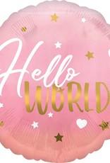 "***Pink Hello World Baby Girl 18"" Mylar Balloon"