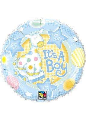"""***It's a Boy Soft Giraffe 18"""" Mylar Balloon"""