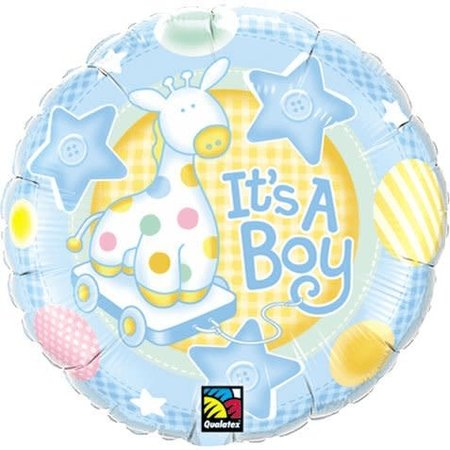 "***It's a Boy Soft Giraffe 18"" Mylar Balloon"