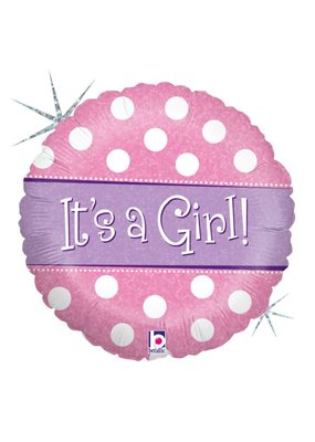 "***Baby Girl Spots Dots 18"" Mylar Balloon"