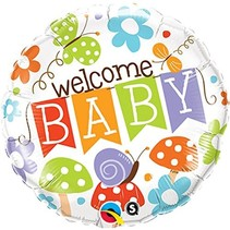 "***Welcome Baby Garden Banner 18"" Mylar Balloon"