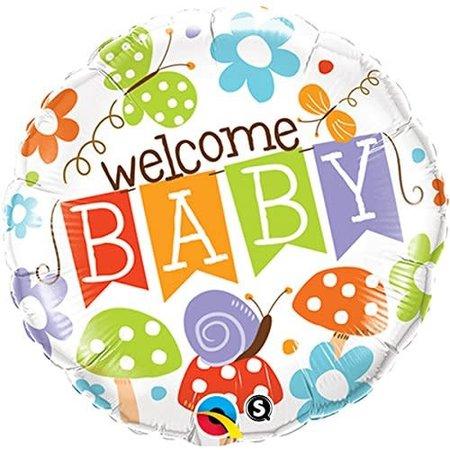 "***Welcome Baby Garden Banner 18"" Mylar Balloon"