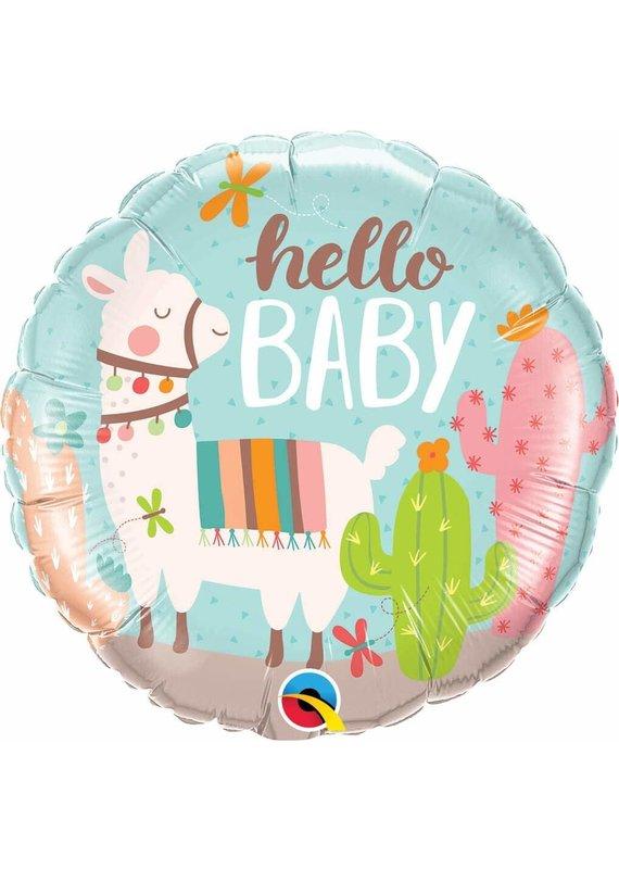 """***Hello Baby Llama 18"""" Mylar Balloon"""