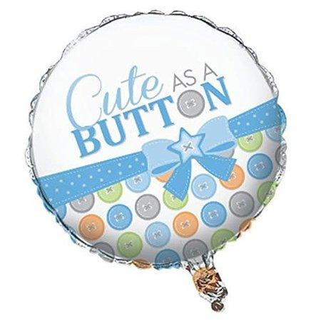 """***Cute as a Button Baby Boy 18"""" Mylar Balloon"""