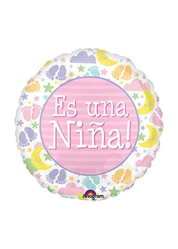 "***Es Una Nina It's Girl 18"" Mylar Balloon"