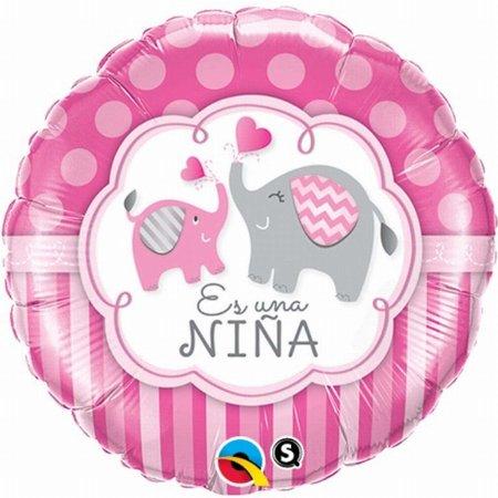 """***Es Una Nina It's Girl Elephant 18"""" Mylar Balloon"""