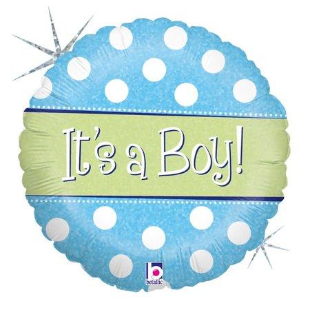 "***Holographic Its A Boy 18"" Mylar Balloon"