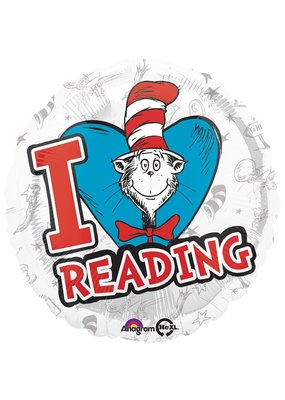 "****Dr. Seuss Hats Off to Reading 18"" Mylar Balloon"
