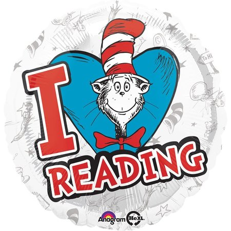 """***Dr. Seuss Hats Off to Reading 18"""" Mylar Balloon"""