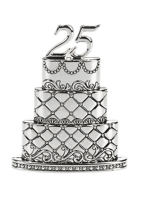 ***25th Wedding Anniversary Cake Figurine