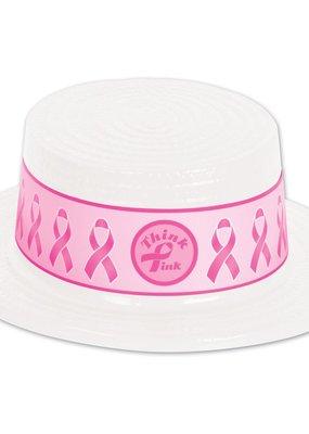 ***Pink Ribbon Plastic Top Hat